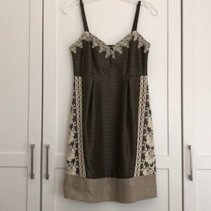 Moulinette Soeurs Green and Taupe Linen Dress